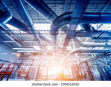Air conditioning of buildings. Background of ventilation pipes. Laying of engineering networks. Industrial background