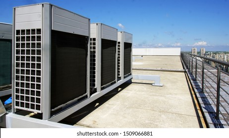 Air conditioning, mounted on the roof of the building. High capacity air conditioning. VRF or VRV system