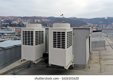 air conditioning on the roof of the business complex
