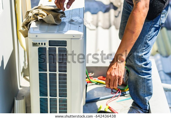 Air Conditioning Technician Part Preparing Install Stock Photo (Edit