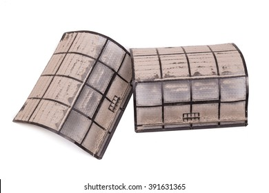 Air conditioning unit filters with full of dust and particles in white background