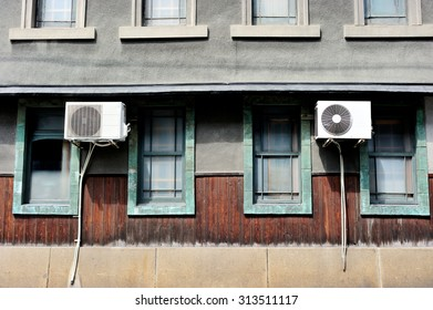 Air conditioning units installed outside the house, Kyoto area, Japan