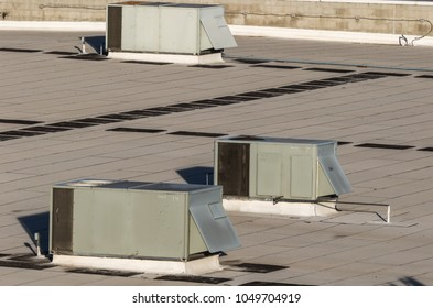 Air conditioning units on top of building