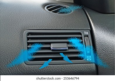air conductor   car - air condition - blue arrows - climate
