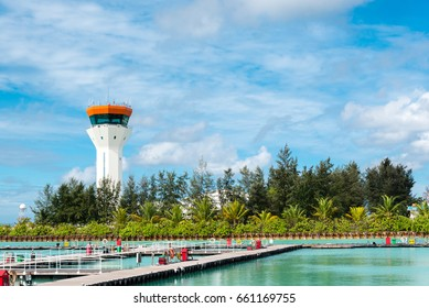 air control tower at a seaplane airport, maldives