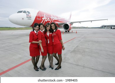 Air crew of Malaysia's low cost carrier AirAsia, 2006.