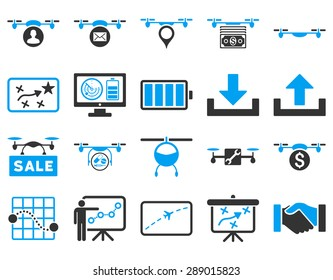 Air drone and quadcopter tool icons. Icon set style: flat glyph bicolor images, blue and gray symbols, isolated on a white background.