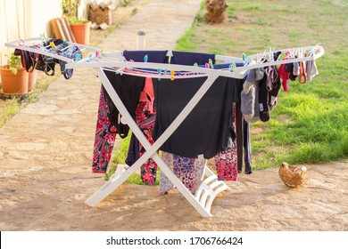 Air drying laundry on summer day