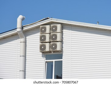 Air duct and ventilation system. House with air conditioner compressor.