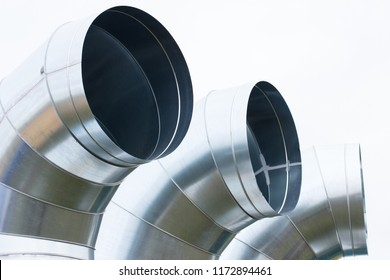 Air ducts pipe for line system air flow, technology and engineering concept