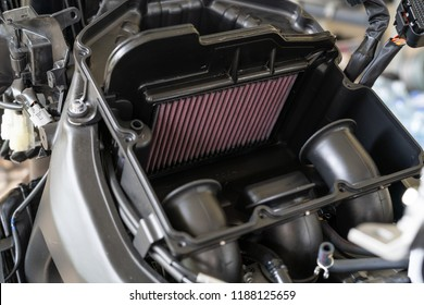Air Filter in a sport Motorcycle. Processing to change engine air-filter. Air filters are used in applications where air quality is important, notably in building ventilation systems and in engines.