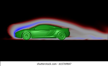 Air flow around sports car in wind tunnel with smoke following form of body . Profile side view. 3d render