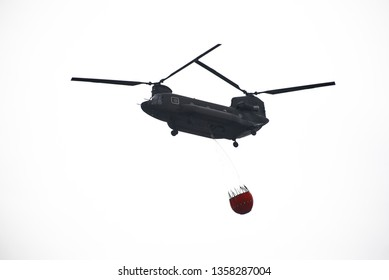 Air Force CH-47 hanging water bag on white background.2019/3/30 in Taiwan