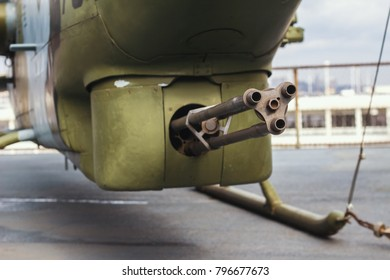 Air Force helicopter with minigun - aviation automatic weapon
