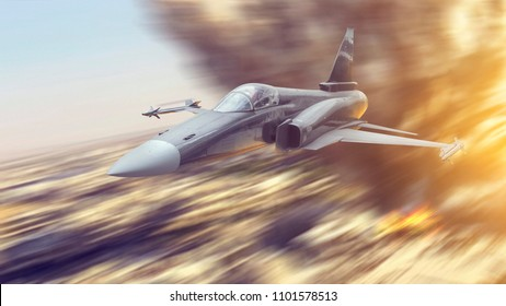 Air force jet fighter war airplane armed with missiles flying in speed really low over the city or a ground on a mission to attack. Bombing explosion in the background