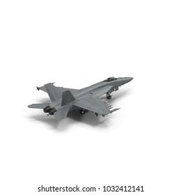 Air Force McDonnell Douglas F/A-18 Hornet fighter jet on white. 3D illustration