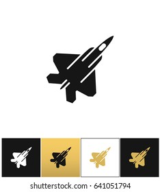 Air force navy icon airforce military plane or fighter jet icon. Air force navy icon airforce military plane or fighter jet pictograph on black, white and gold background