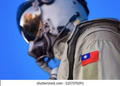 Air force pilot flight suit uniform with  Taiwan flag patch. Military jet aircraft pilot