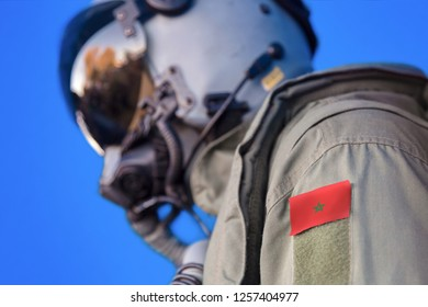 Air force pilot flight suit uniform with Morocco flag patch. Military jet aircraft pilot