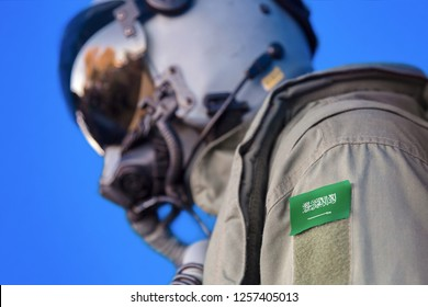 Air force pilot flight suit uniform with Saudi Arabia flag patch. Military jet aircraft pilot