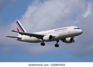 Air France Airbus A320-200 airplane with registration F-HEPA landing at Amsterdam Schiphol International Airport. Amsterdam, Netherlands - August 30, 2018