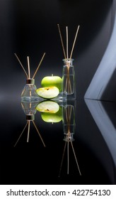Air Fresheners With Apple Scent In A Beautiful Glass Jars With Sticks And  Whole Green Apple