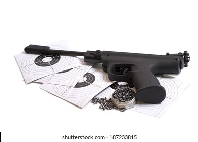 Air gun and the target on a white background
