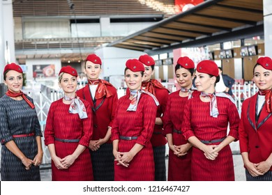Air hostesses walk during the opening ceremony of Istanbul's third airport on October 29, 2018 Istanbul, Turkey