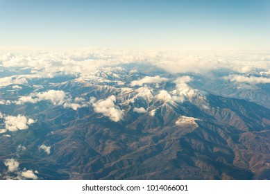 Air image from the snowy Pyrenees between France and Spain