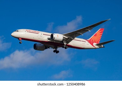 Air India Boeing 787 Dreamliner landing at London Heathrow Airport. The aircraft registration is VT-AND. London, England, UK - November 30, 2018