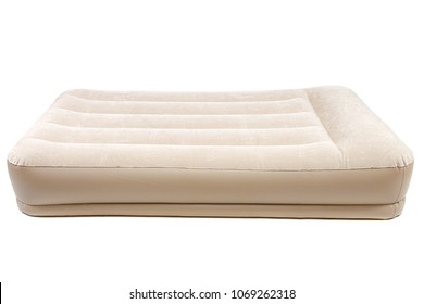 Air mattress with electric pump for rest and sleep isolated on white background.
