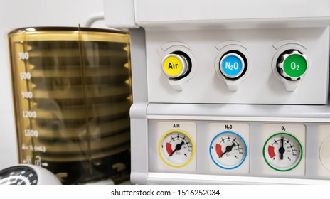 Air, Nitrous Oxide, Oxygen Control Knob in Anesthesia Machine And have a pressure gauge to check the status. Focus at knob in Anesthesia Machine