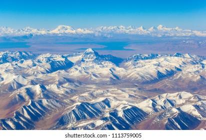 The air overlooks Ngari (Ali)- Kangrinboqe Peak, Namunani Peak, Lake Raksas Tal and Lake Manasarovar. Taken on the airway from Shiquanhe to Lhasa.