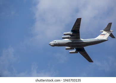 air parade of planes. military holiday and air show in the sky. professional pilots show complex aerobatics in the air
