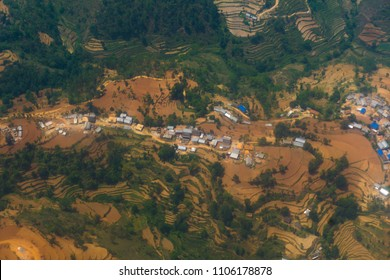 Air photography of Nepal village