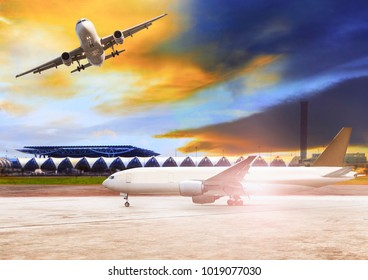 air plane flying and approaching to departure at airport runway