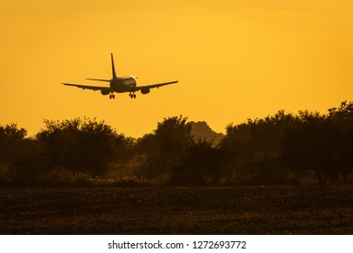 Air plane landing on the track at sunset with beautiful sky in background
