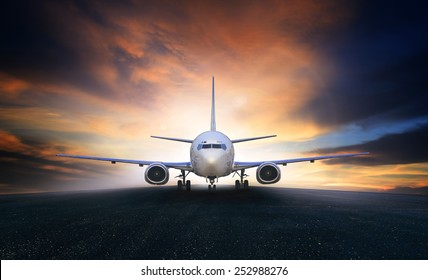 air plane preparing to take off on airport runways use for air transport and airliner business traveling