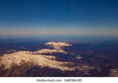 Air Plane view of Canigou Peak and Tretzevents Peak, Prats de Mollo la Preste National Nature Reserve, Catalunya, near Barcelona, Spain - Shutterstock ID 1689386182