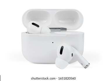Air Pods Pro with Charging Case Isolated on White Background. White Glossy Wireless Sport Headphones with Charging Box. Wireless in-ear Headphones for Jogging. Close-Up View.