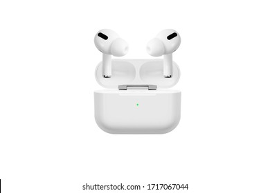 Air Pods Pro. with Wireless Charging Case. New Airpods pro on white background. Airpods Pro.EarPods. white wireless headphones on a white background
