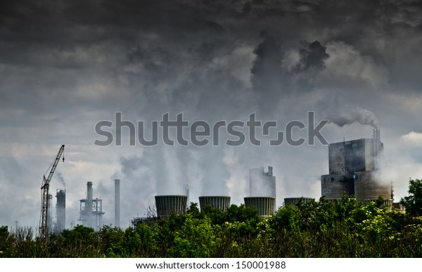 air polluting factory chimneys