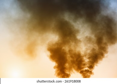 Air pollution by smoke coming out of factory