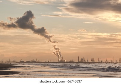 Air Pollution of a Coal Fulled Power Plant at Sunset