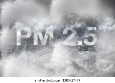 air pollution concept , pm 2.5 warning ,mist city