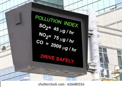 Air pollution index in a roadsign electronic screen- many uses in environment and pollution control.