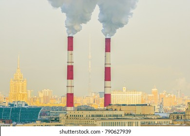 Air pollution  from industrial pipes in Moscow