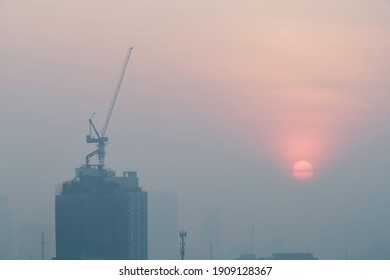 air pollution and the mist in morning time over Bangkok city, thailand