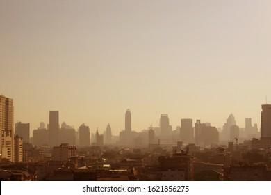 Air pollution, pm 2.5 dust is very high in Bangkok, Thailand