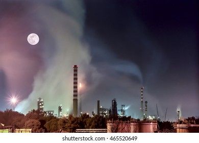 Air pollution produced by an oil factory, Livorno, Tuscany, Italy - Shutterstock ID 465520649